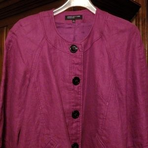 Jones New York purple button up jacket size 16